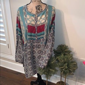 Johnny Was Turquoise, Red, Gray Tunic. Fall find!